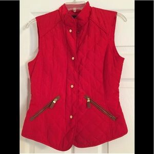 Zara Basic Red Quilted Vest Gold Detail Sz S (A11)
